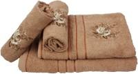 Sassoon Cotton Bath & Hand Towel Set 2 Hand Towels, 1 Male Bath Towel, 1 Female Bath Towel, Brown