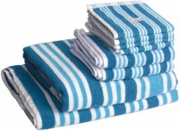 Skumars Love Touch Cotton Bath, Hand & Face Towel Set 1 Gents Bath Towel, 1 Ladies Bath Towel, 2 Hand Towels, 4 Face Towels, Turquoise Blue