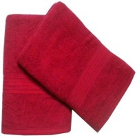 ShopSince Cotton Bath Towel ShopSince Set Of 2 Maroon Cotton Bath Towels, Red