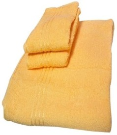 Trident Everyday Cotton Bath Towel Set (1 Bath Towel, 2 Hand Towels, Yellow)