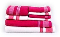 RR Textile House Cotton Bath Towel 1 Bath Towel, 1 Ladies Towel, 2 Hand Towel, 4 Face Towel, Pink