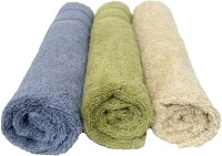 Bath Hub Cotton Hand Towel Set Pack Of 3 Hand Towel Set, Blue, Green, Off White