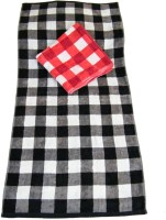 The Fancy Mart Checks Cotton Bath Towel Set Of 2 Big Towels, Black, Red