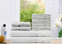 Story@home Cotton Bath, Hand & Face Towel Set 2 Bath Towel, 2 Hand Towel, 10 Face Towel, White