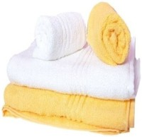 Trident Everyday Cotton Bath Towel Set (2 Bath Towel, 2 Hand Towels, Yellow, White)