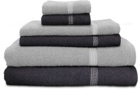 Swiss Republic Cotton Bath, Hand & Face Towel Set 2 Bath Towels, 2 Hand Towels, 2 Face Towels, Dark Grey, Light Grey