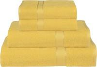 RR Textile House Cotton Bath, Hand & Face Towel Set Ladies Towel 1, Bath Towel 2, Hand Towel, Yellow