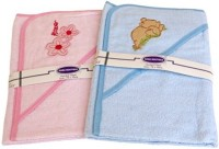 Gridaxe Cotton Bath Towel Set (Bath Towel, Light Blue, Light Pink)