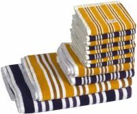 Skumars Love Touch Cotton Bath, Hand & Face Towel Set 1 Gents Bath Towel, 1 Ladies Bath Towel, 2 Hand Towels, 8 Face Towels, Dark Blue, Yellow