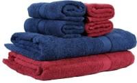 Bigshoponline Cotton Bath & Hand Towel Set 2 Bath Towels, 4 Hand Towels, Dark Blue, Red, Blue, Red