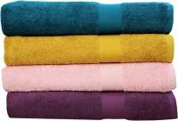 Rakshan Cotton Bath Towel Set (Pack Of Towel 4, Blue, Yellow, Baby Pink, Purple)