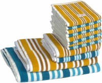 Skumars Love Touch Cotton Bath, Hand & Face Towel Set 1 Gents Bath Towel, 1 Ladies Bath Towel, 2 Hand Towels, 8 Face Towels, Turquoise Blue, Yellow