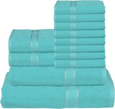 RR Textile House Cotton Bath, Hand & Face Towel Set 8 Face Towel, 2 Hand Towel, 1 Ladies Towel, 1 Bath Towel, Blue