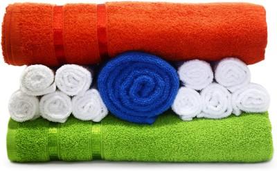 Story@home Cotton Bath, Hand & Face Towel Set 1 Pc Bath Towel + 10 Pc Face Towel + 1 Pc Bath Towel + 2 Pc Hand Towel, Orange