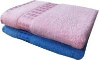 YNA Designer Cotton Bath Towel Set (2 Bath Towels, Pink, Blue)