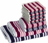Skumars Love Touch Cotton Bath, Hand & Face Towel Set 1 Gents Bath Towel, 1 Ladies Bath Towel, 2 Hand Towels, 8 Face Towels, Dark Blue, Raspberry