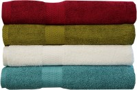 Rakshan Cotton Bath Towel Set (Pack Of Towel 4, Red, Green, White, Turquoise)