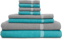 Swiss Republic Cotton Bath, Hand & Face Towel Set (2 Bath Towels, 2 Hand Towels, 4 Face Towels, Light Blue, Light Grey)