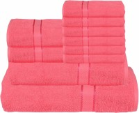RR Textile House Cotton Bath, Hand & Face Towel Set Bath Towel 1, Ladies Towel 2, Hand Towel 6, 1 Face Towel, Pink