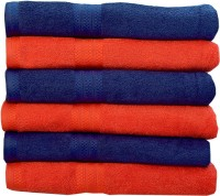 Rakshan Cotton Bath Towel Set (Pack Of Towel 6, Blue, Orange)