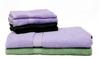Trident Cotton Bath & Hand Towel Set 2 Bath Towels 30x60 Inches, 4 Hand Towels 16x24 Inches, Light Blue, Green, Light Green