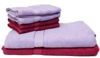 The Home Story Cotton Bath & Hand Towel Set 2 Bath Towels 30x60 Inches, 4 Hand Towels 16x24 Inches., Light Blue, Maroon