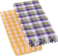 Suam Cotton Bath Towel Pack Of 2 Bath Towel, Yellow, Grey