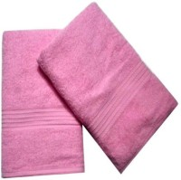 ShopSince Cotton Bath Towel ShopSince Set Of 2 Pink Cotton Bath Towels, Pink