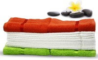 Story@home Cotton Hand & Face Towel Set 2 Pc Hand Towel + 10 Pc Face Towel + 2 Pc Hand Towel, Orange