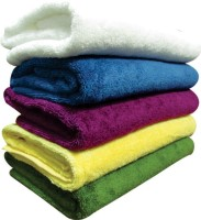 Excel Bazaar Cotton Bath Towel 5 Bath Towels, White, Blue, Purple, Yellow, Green