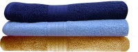 India Furnish Cotton Bath Towel Set 3 Bath Towels, Sky Blue, Navy Blue, Gold