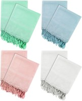 Just Linen Cotton Bath Towel 4 Pairs Of Woven Bath Towels, White, Pink, Sea Green And Sky Blue - BTWE8YZXMEURHZBQ