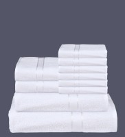 RR Textile House Cotton Bath, Hand & Face Towel Set Bath Towel 1, Ladies Towel 2, Hand Towel 6, 1 Face Towel, White