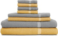 Swiss Republic Cotton Bath, Hand & Face Towel Set 2 Bath Towels, 2 Hand Towels, 4 Face Towels, Light Brown, Light Grey