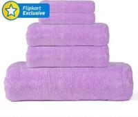 Khushal Cotton Bath, Hand & Face Towel Set 1 Towel, 2 Face Towel, 2 Hand Towel, Purple