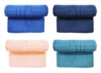 Bombay Dyeing Cotton Set Of Towels (4 LARGE SIZE TOWEL SET, LIGHT BLUE, DARK BLUE, PEACH, DARK GREY)
