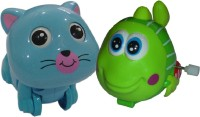 Brunte Cute Cat And Wiggling Fish Water Set Bath Toy (Multicolor)