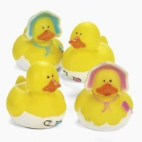FE Dozen Vinyl Baby Shower Rubber Duckys - Pink & Blue Bath Toy (Multicolor)