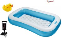 Lavidi Combo Of Three High Quality Bathing Tub With Air Pump & Duck Family For Kids Bath Toy (Multicolor)