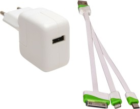 Vtc Power Adaptor With Usb Data Cable For Apple I Phone 4,4s,5,5s,6,6plus & Samsung Battery Charger (white)