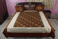 Rajcrafts Silk Double Bed Cover Multicolor, Bed Cover, Two Pillow Cover, Two Cushion Cover