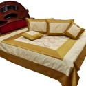 UFC Mart Golden Brown Silk Cushion Set Double Bed Cover