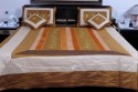 UFC Mart Golden Brown Silk With 4 Pillow Double Bed Cover