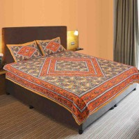 Manka Creation Cotton Double Bed Cover Orange, Green, 1 Double Bedsheet, 2 Pillow Covers