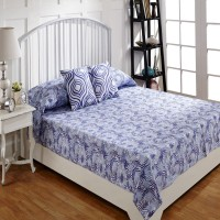Ratan Jaipur Cotton Double Bed Cover Blue, Bed Cover, 2 Cushion Cover - BCVEBX4HVTKH2FCS