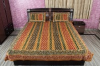 Rajcrafts Cotton Double Bed Cover Multicolor, Bed Cover, Two Pillow Cover