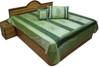 UFC Mart 5 Piece Green Jaipuri Silk Double Bed Cover