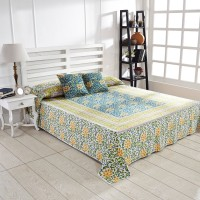 Ratan Jaipur Cotton King Bed Cover Blue, 1Bed Cover, 2 Cushion Cover