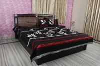 Rajcrafts Silk Double Bed Cover Black, 1 Bed Cover, 2 Pillow Cover, 2 Cushion Cover