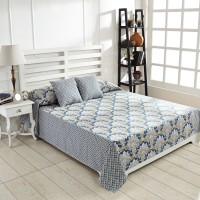 Ratan Jaipur Cotton Double Bed Cover Blue, 1Bed Cover, 2 Cushion Cover